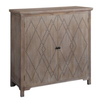 Dalton 2 Door Wood with  Diamond Pattern Nailhead Cabinet