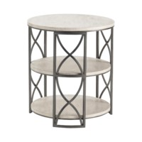Springfield Grey Metal and White Wood Tiered Accent Table
