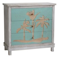 Palm Harbor Carved Palm Tree 3 Drawer White Wash and Turquoise Chest