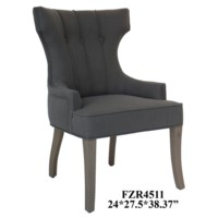Brooks 3 Button Vertical Welp Upholstered Grey Linen Chair
