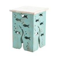 Aquarium Seafoam and Whitewash Square Accent Table