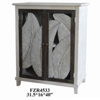 Biscayne 2 Door Metal Leaves and Whitewash Cabinet