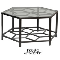 Lenox Hexagon Metal Design and Glass Cocktail Table