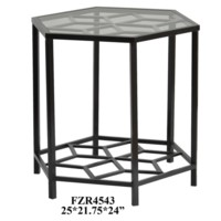 Lenox Hexagon Metal Design and Glass End Table