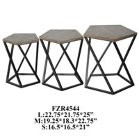 Grant Metal and Wood Pentagon Set of 3 Tables