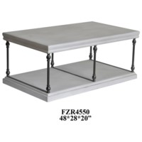Hanover Metal and White Wood Rectangle Cocktail Table