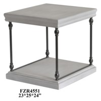 Hanover Metal and White Wood Rectangle End Table