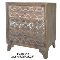 Morada 3 Drawer Carved Wood Chest