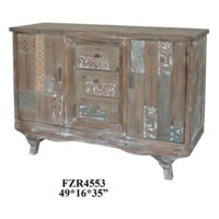 Morada 3 Drawer 2 Door Carved Wood Sideboard