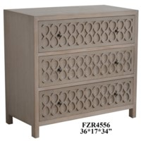 Roswell 3 Drawer Infinity Fretwork Light Oak Chest