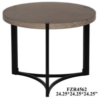 Stratus Metal and Wood Tri Leg Round End Table