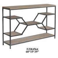 Liam Metal and Wood Floating Shelf Console