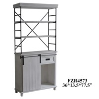 Hanover 1 Sliding Door 1 Drawer Metal and White Wood Cabinet and Bookshelf