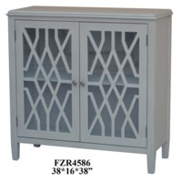 Stratford 2 Door Pale Grey Fretwork Cabinet
