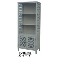 Stratford 2 Door Pale Grey Fretwork Bookcase