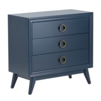 Pomeroy Indigo 3 Drawer Chest with Gold Hardware