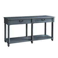 Morrisey Turned Leg Slate Grey 2 Drawer Console
