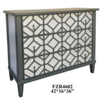 Versailles 3 Drawer Chateau Grey and White Pattern Chest