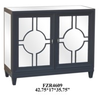 Preston 2 Door Circle Grey and Beveled Mirror Cabinet