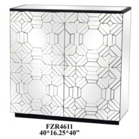 Millenium 2 Door Raised Pattern Beveled Mirror Cabinet