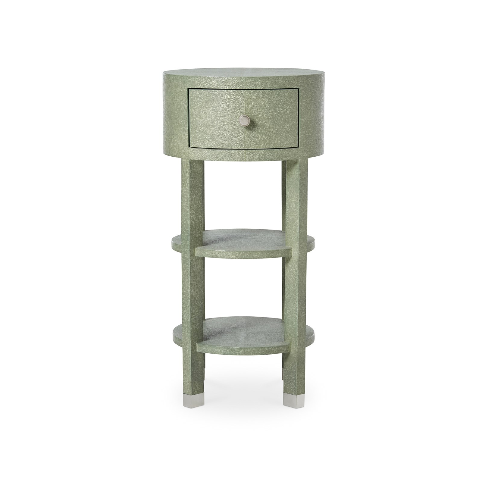 Black side table with drawer -  Cetana 1 Drawer Round Side Table Crocodile Green