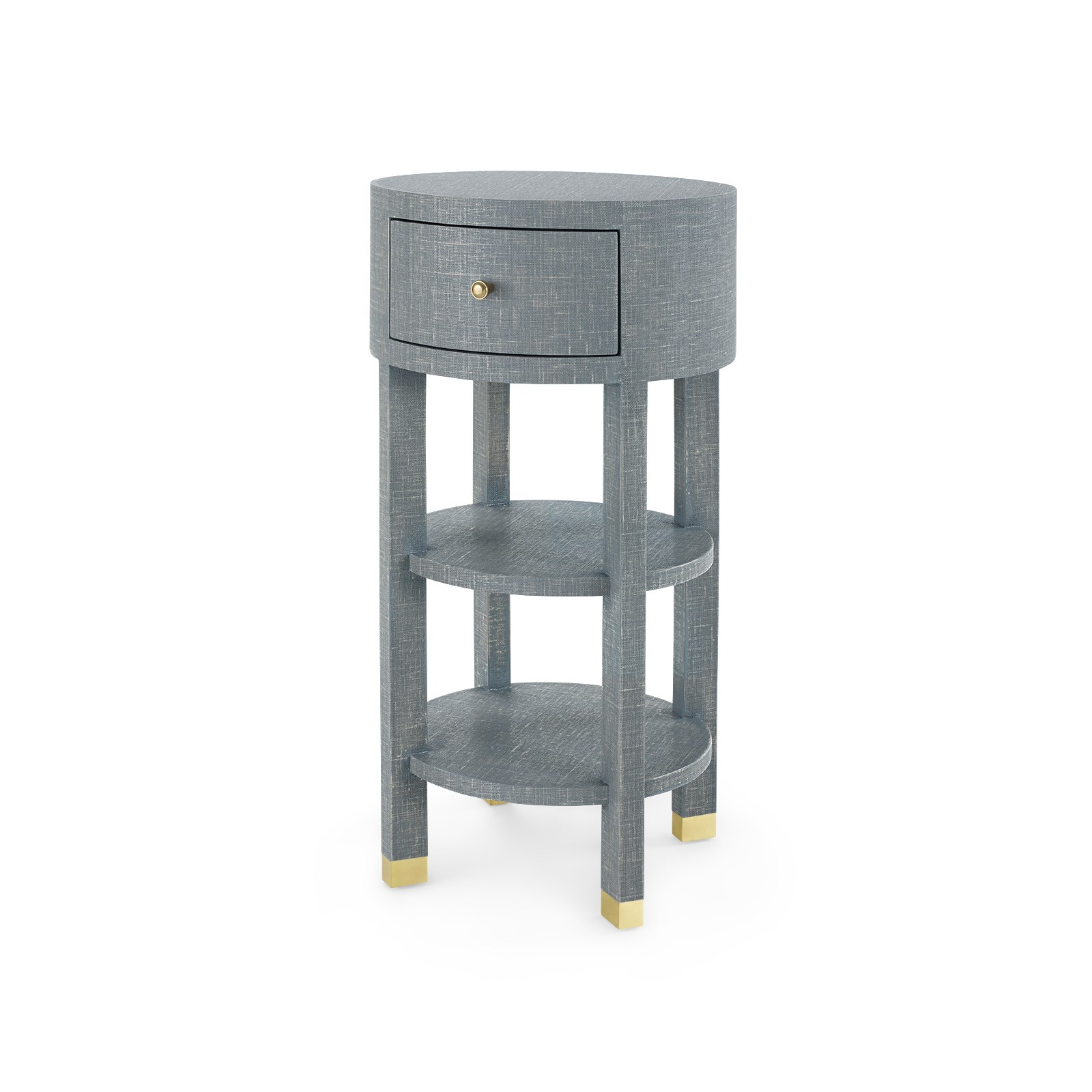 Claudette 1 Drawer Round Side Table Gray Bungalow 5