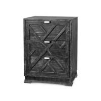 Cara 3-Drawer Side Table, Black