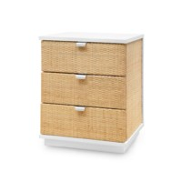 Cosmopolitan 3-Drawer Side Table, White