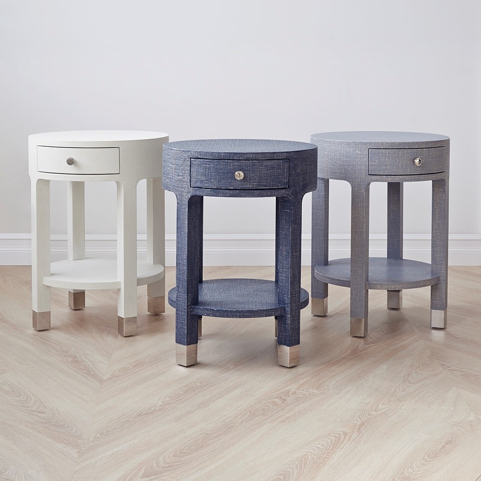 ... Dakota 1 Drawer Round Side Table, Gray. X