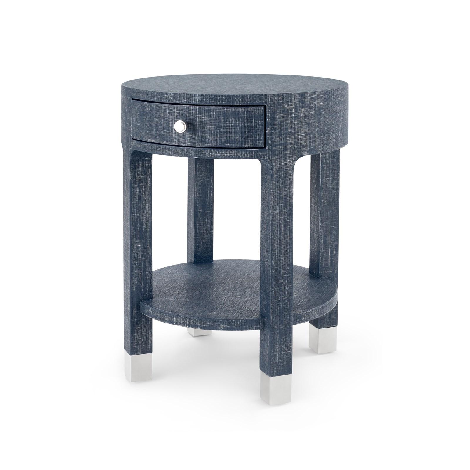 Dakota 1 Drawer Round Side Table Navy Blue Bungalow 5