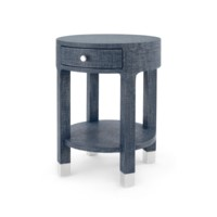 Dakota 1-Drawer Round Side Table, Navy Blue