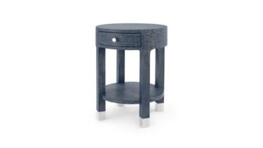 Dakota 1-Drawer Round Side Table, Navy Blue
