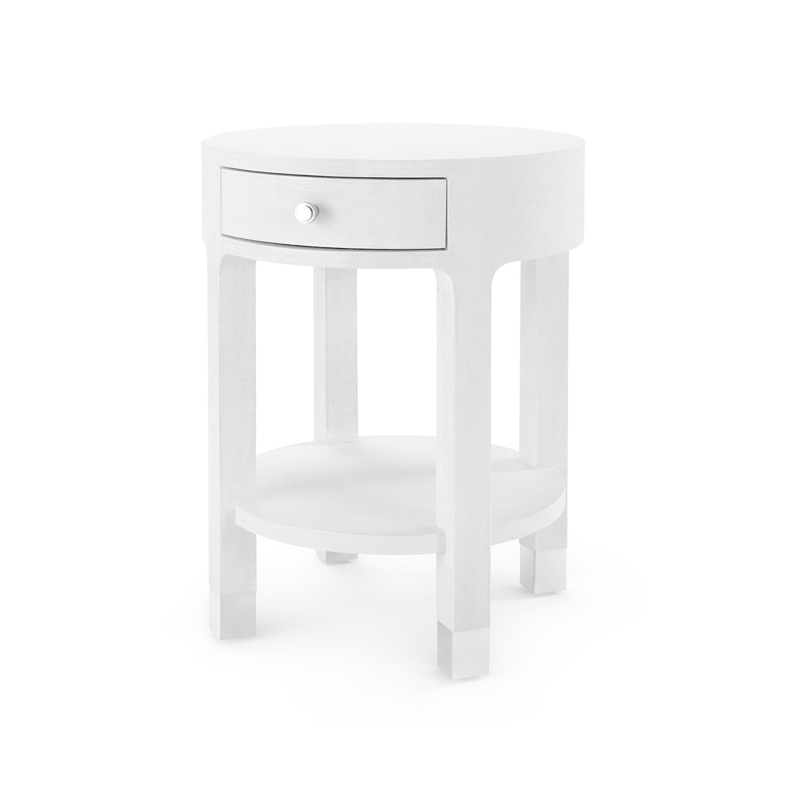 Dakota 1 Drawer Round Side Table White Bungalow 5