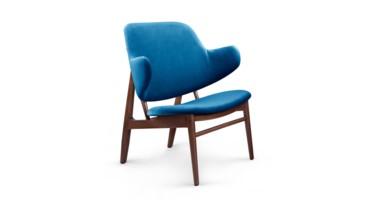Elba Velvet Lounge Chair, Blue