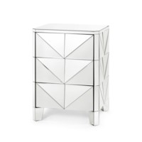 Eliza 3-Drawer Side Table, Mirror
