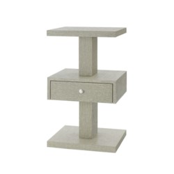 'Fedor 1-Drawer Side Table., Moss Gray Tweed