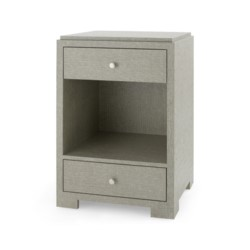 'Fedor 2-Drawer Side Table., Moss Gray Tweed