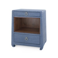 Ming 2-Drawer Side  Table, Navy Blue
