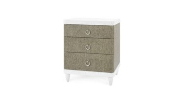 Montclair Oxford Weave 3-Drawer Side Table, Gray and White