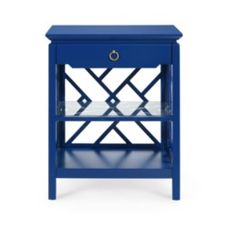 'Nantucket 1-Drawer Side Table - Blue, Navy Blue