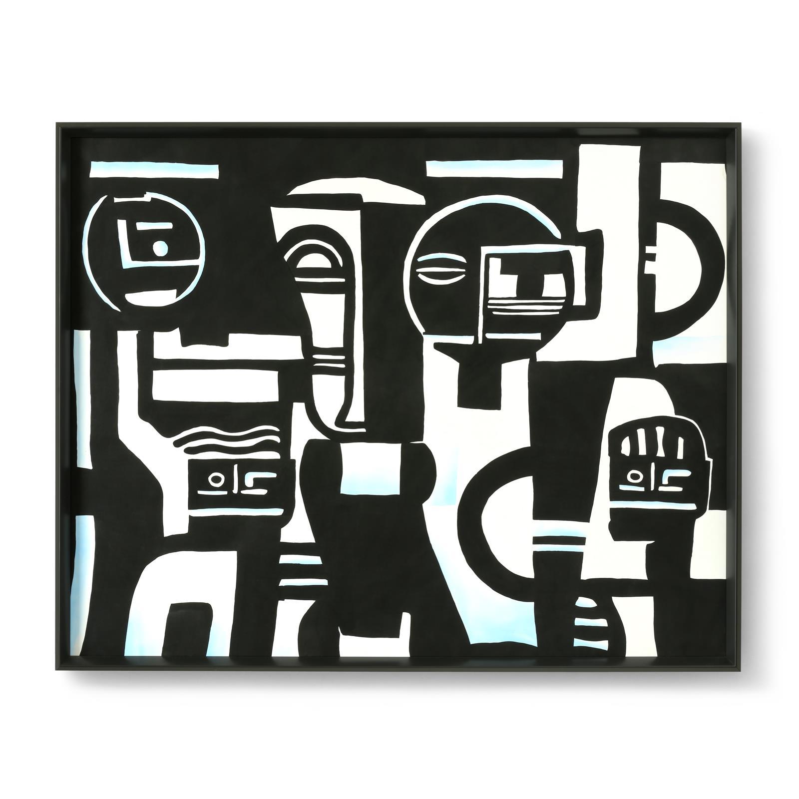 Quartet Framed Silk Panel, Black-White-Light Blue - Bungalow 5