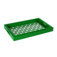 Sasoon Rectangle  Nesting Trays, Kelly Green, Black, White