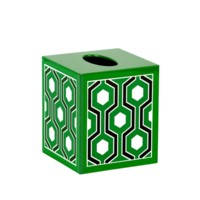 Sasoon Tissue Box, Kelly Green-Black-White