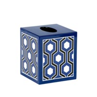 Sasoon Tissue Box, Navy Blue-Black-White
