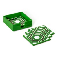 Sasoon Coasters with Coaster Holder, Kelly Green-Black-White