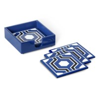 Sasoon Coasters with Coaster Holder, Navy Blue-Black-White