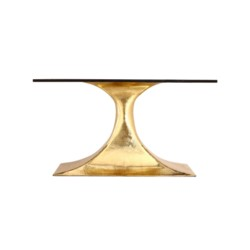 """'Stockholm Brass Oval Dining Table Base (Pairs with 95"""" Top, Sold Separately), Brass"""
