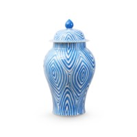 Twig Temple  Jar Small, Blue & White