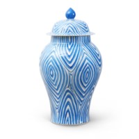 Twig Temple  Jar Large, Blue & White