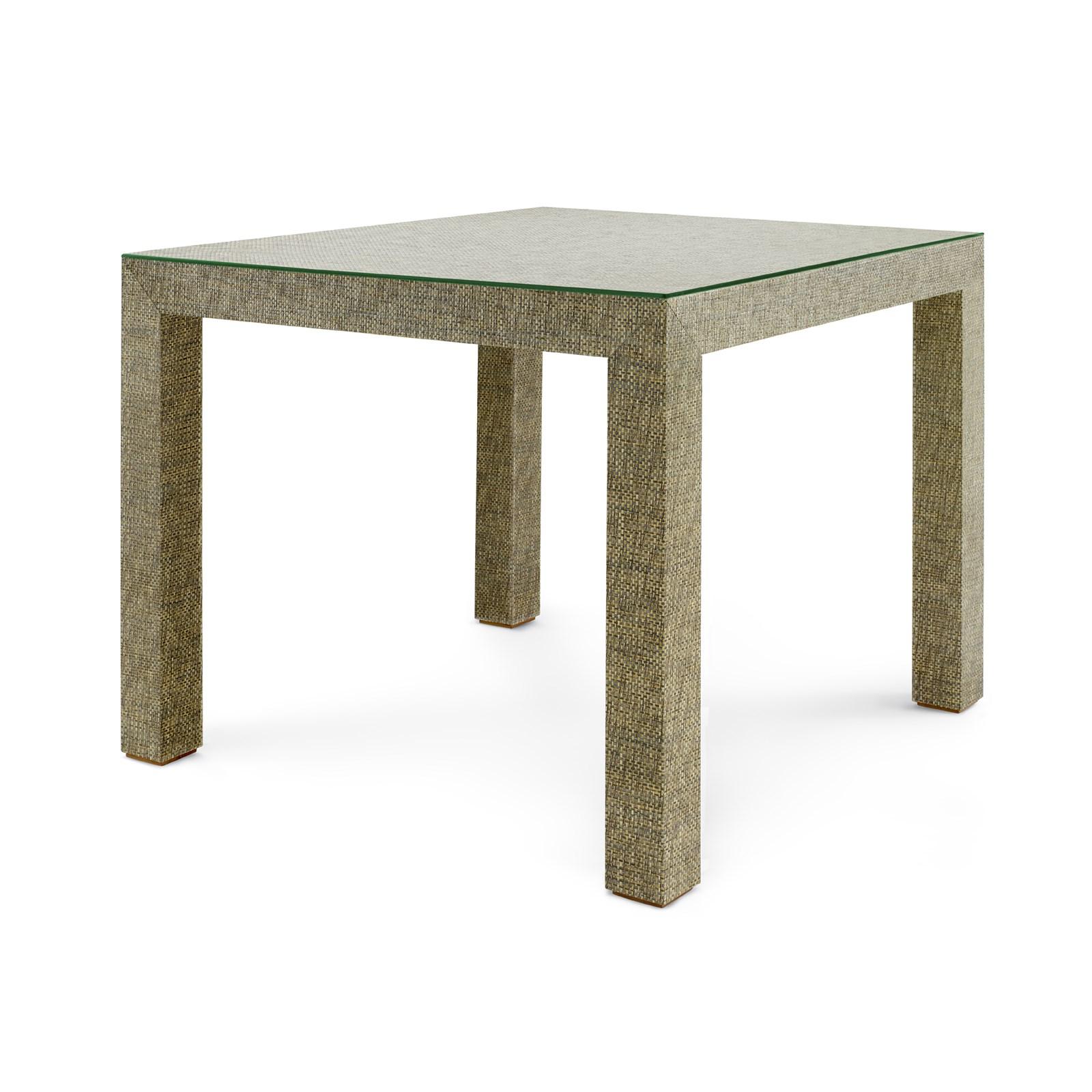 Bon Valentina Marled Grasscloth Game Table, Slate Gray